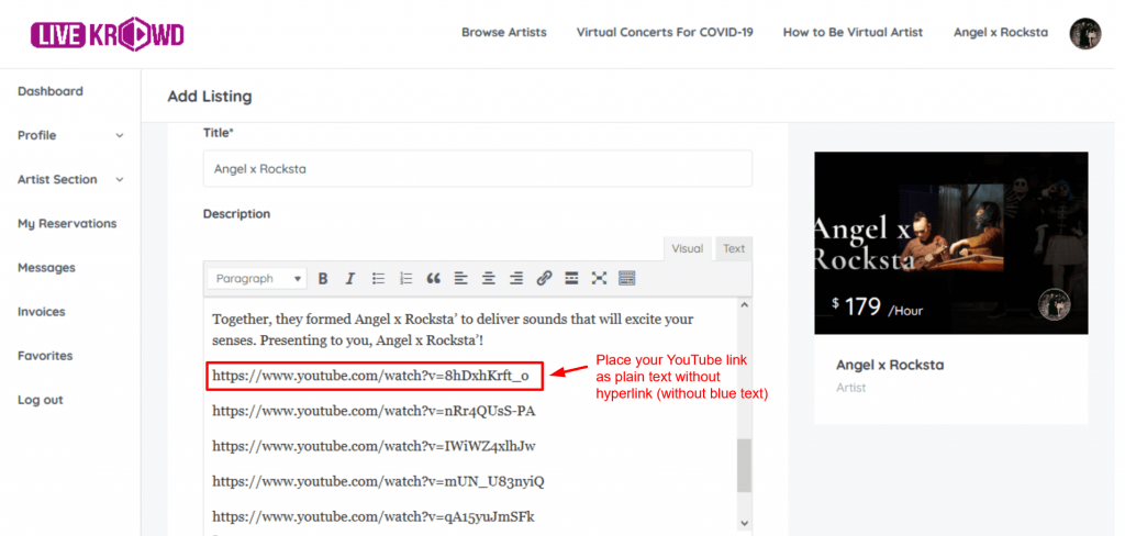 How to insert YouTube links in LiveKrowd listing page