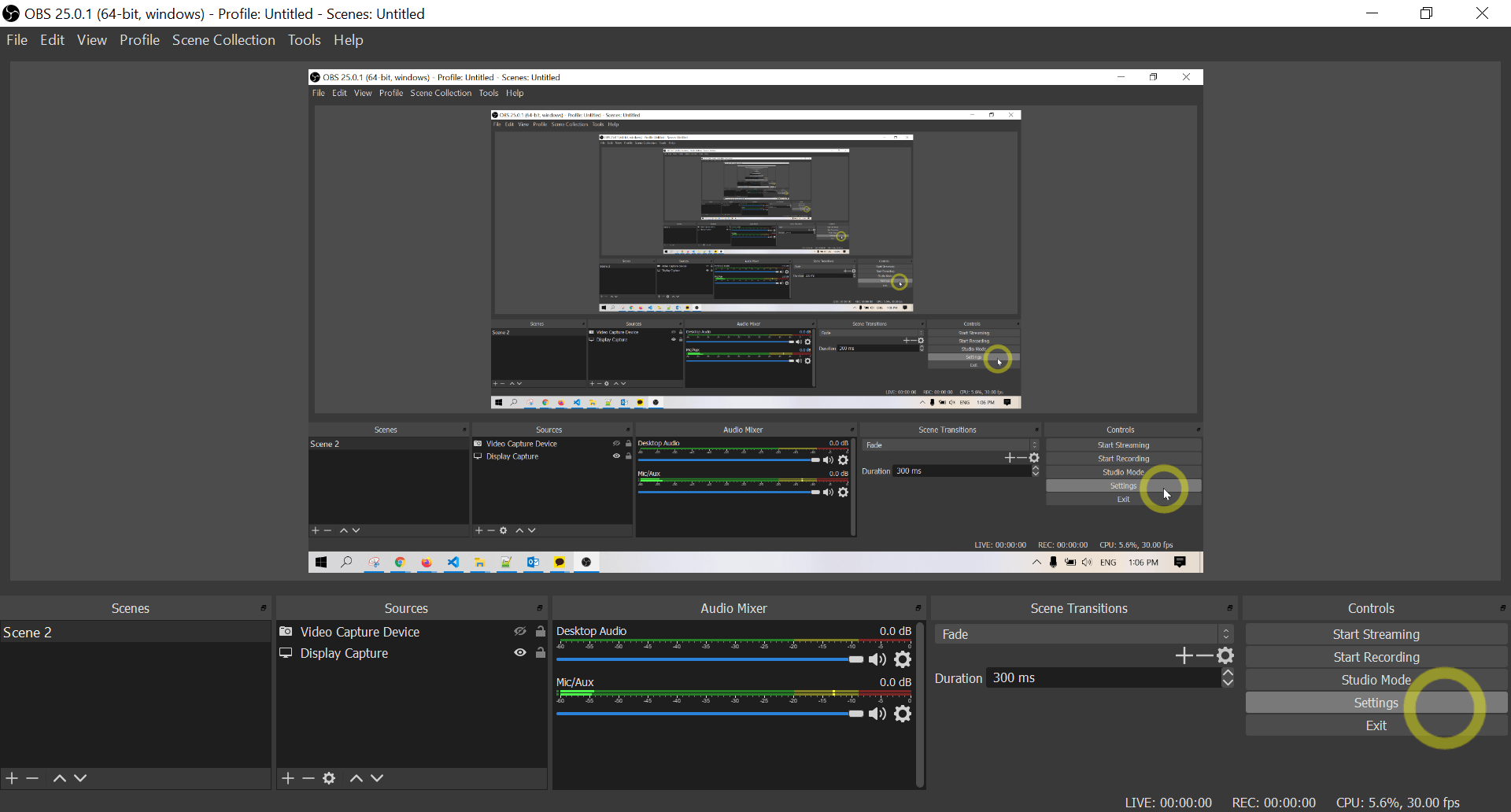 Location of Settings in OBS Studio