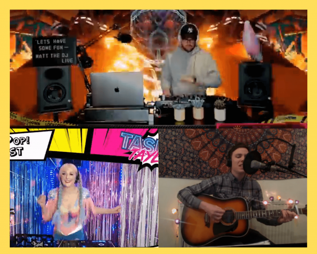 Examples of backgrounds while live streaming